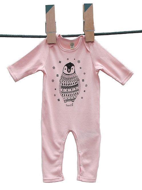 Pale Pink Penguin Baby Grow