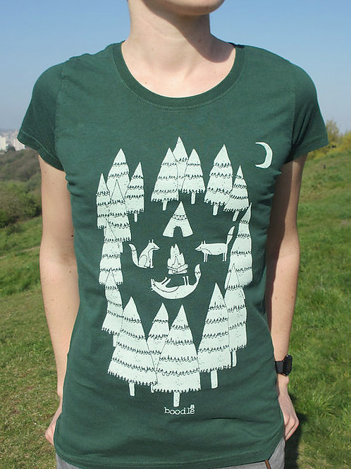 Women's Green Foxes In Forest T Shirt