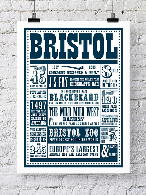 Bristol Facts Typography Print