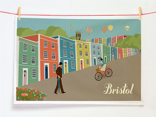 Bristol Coloured Houses Tea Towel