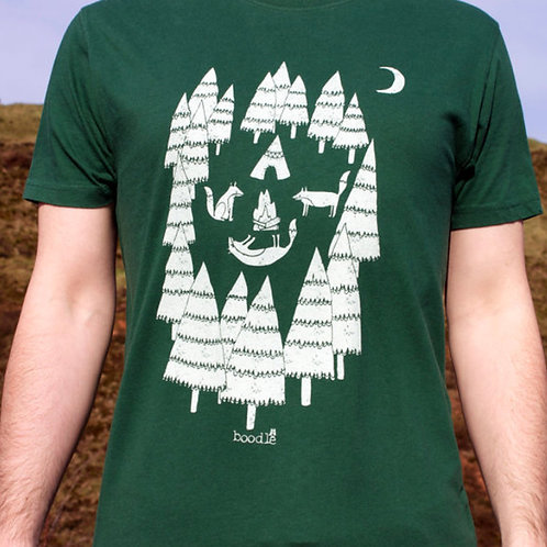 Men's Green 'Foxes In The Forest' T Shirt