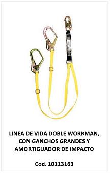 Linea de vida doble workman con ganchos grandes, 10113163