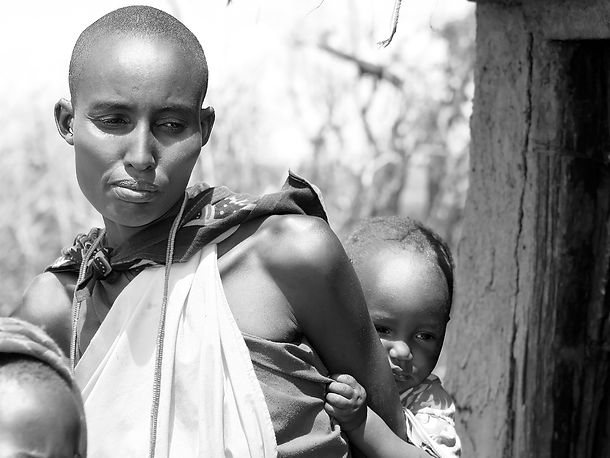 Ethiopian woman with children