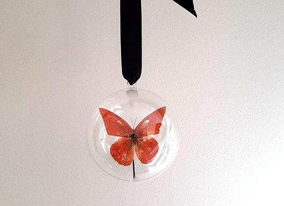 Boule décorative taille 2 papillon orange