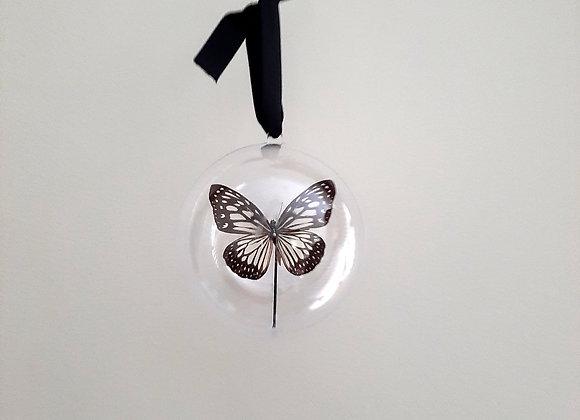 Boule décorative taille 2 papillon noir et gris