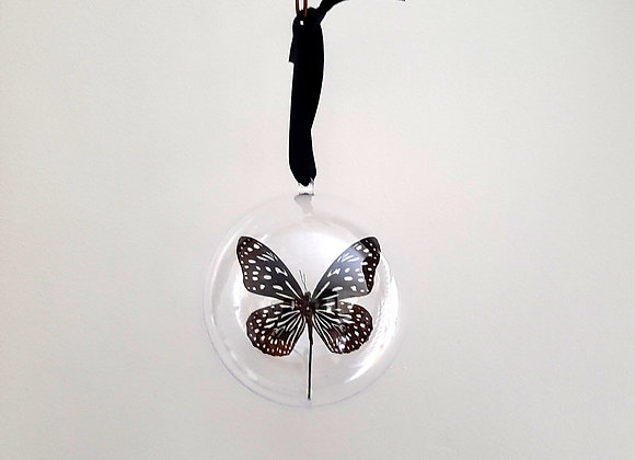 Boule décorative taille 3 papillon marron et bleu