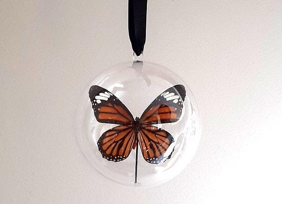 Boule décorative taille 3  papillon orange et noir