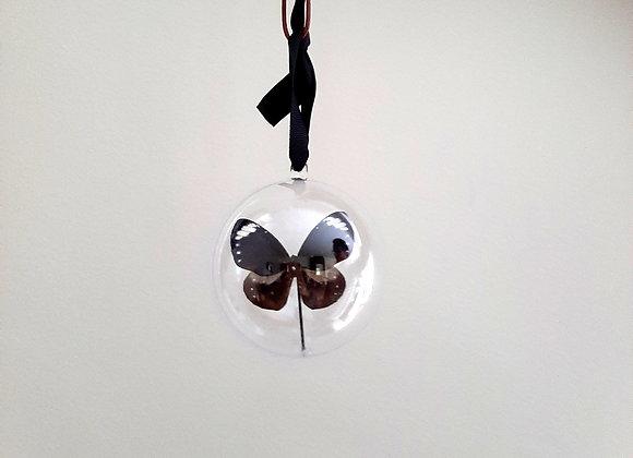 Boule décorative taille 1 papillon marron et bleu