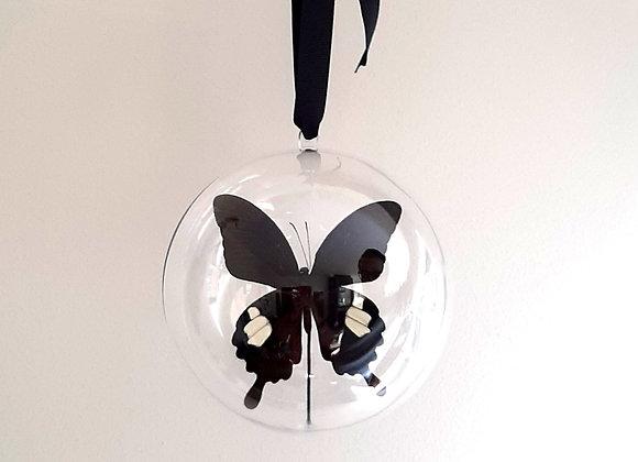 Boule décorative taille 3 papillon noir