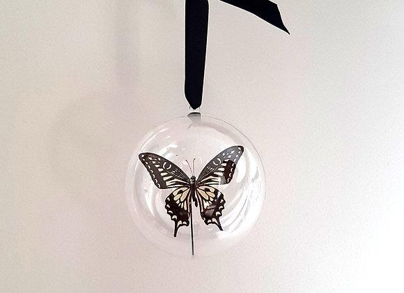 Boule décorative taille 3 papillon noir et blanc