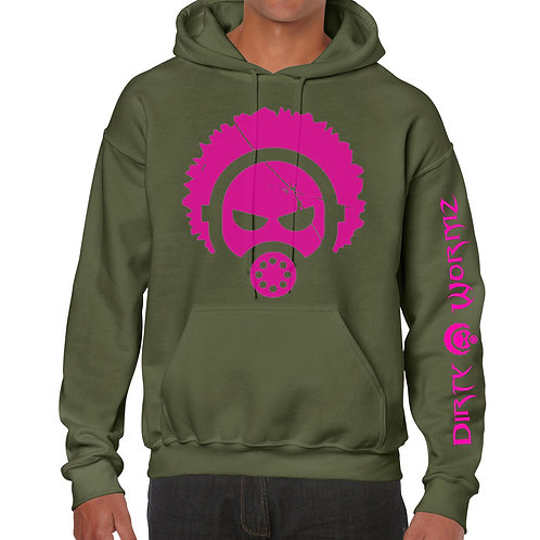 ARMY GREEN HOODIE WITH HOT PINK PRINT