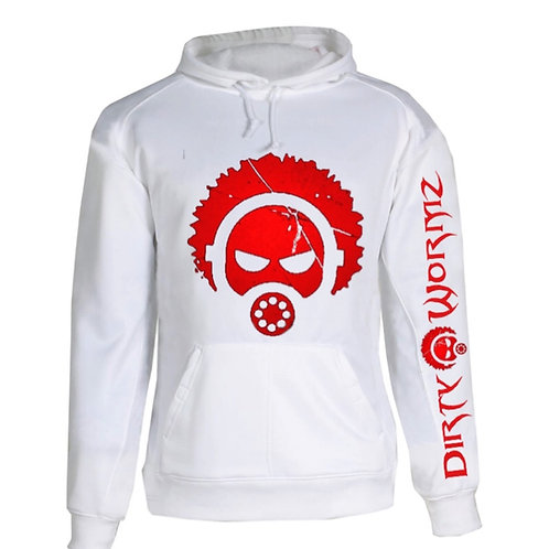 CLASSIC HOODIE WHITE WITH RED PRINT