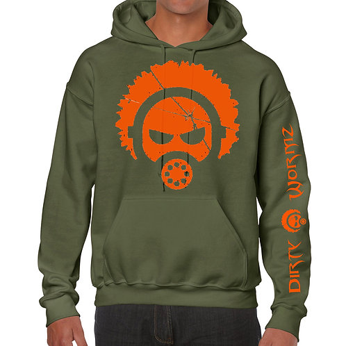 ARMY GREEN HOODIE WITH ORANGE PRINT