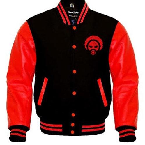 RED & BLACK WORM LEATHER VARSITY COAT