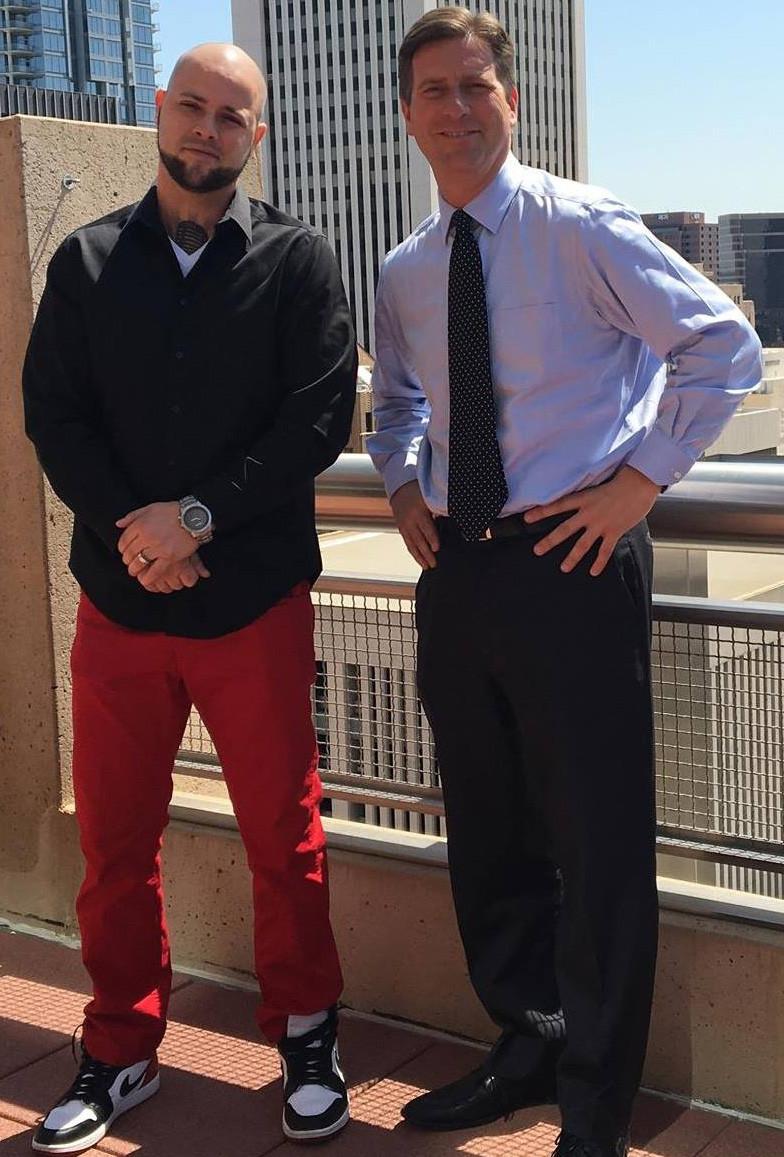 Mayor Greg Stanton and Justus Samuel