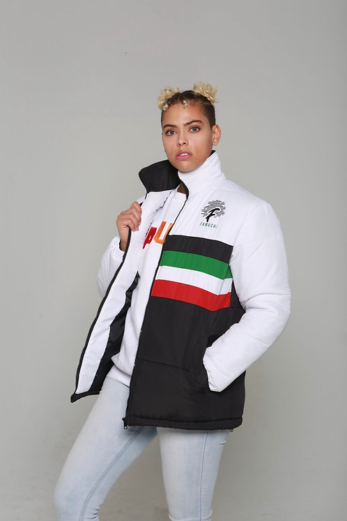 Famuchi Puffer (  Green & Red Stripe)