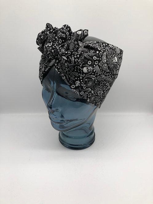 Skull Rockabilly Twisted Turban