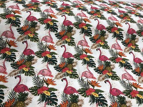Crafty Cotton Tropical Flamingo 100% Cotton