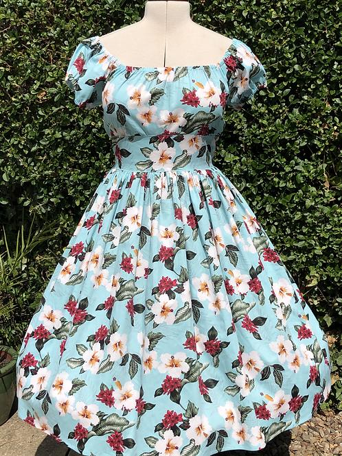 Green Hibiscus Rose Gypsy Dress