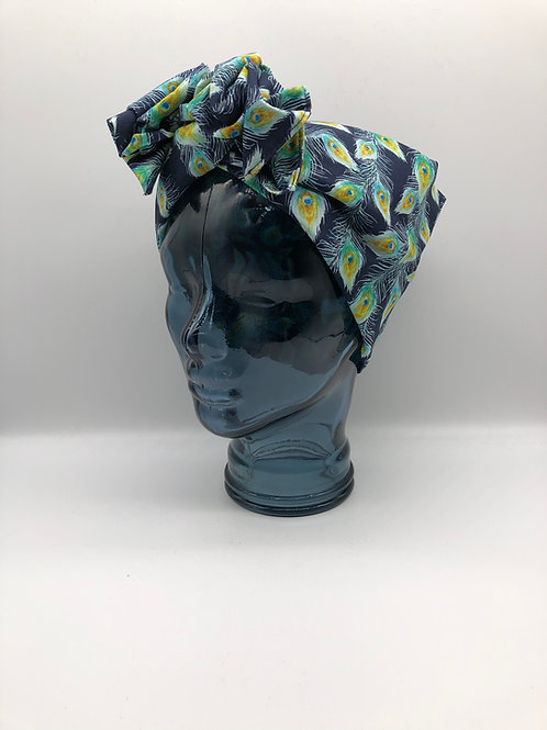 Peacock Feathers Twisted Turban