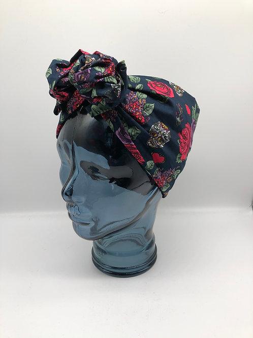 Sugar Skulls & Roses Twisted Turban