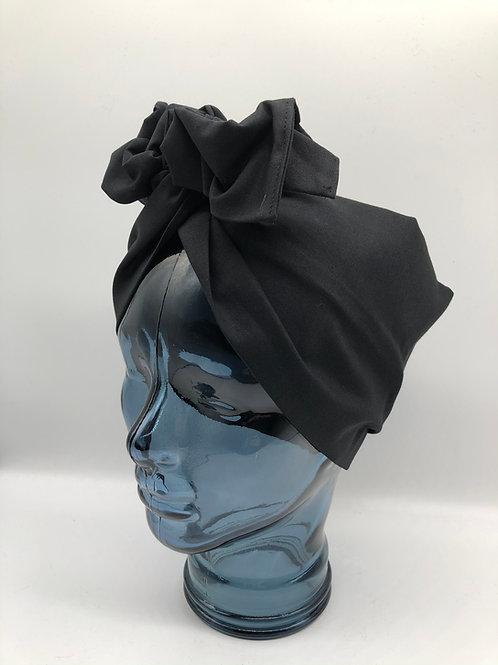 Black Cotton Twisted Turban