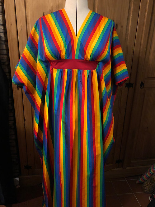 Rainbow Wide Stripes Kaftan