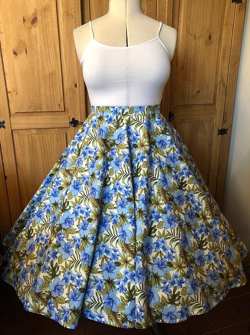 Blue Hawaiian Flowers Florence Skirt