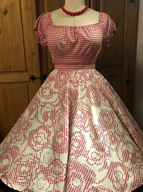 Red Floral Gingham Florence Skirt Size 8