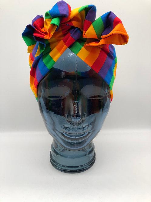 Rainbow Wide Stripe Twisted Turban