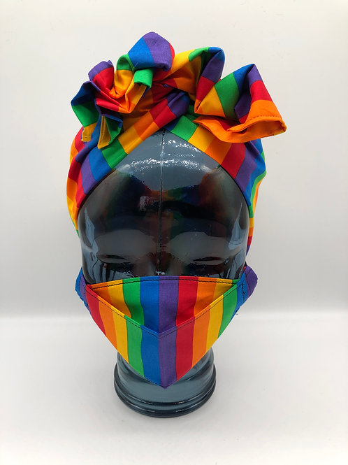 Rainbow Wide Stripe 3D Face Mask