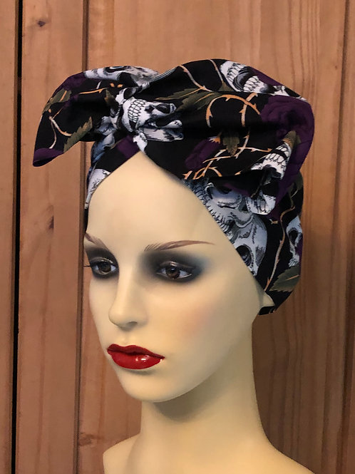 Purple Skulls & Roses Twisted Turban
