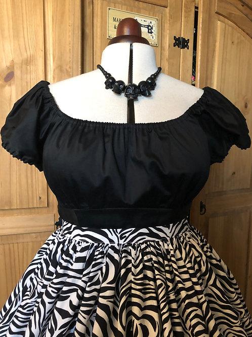 Black Sateen Rose Gypsy Top Size 18