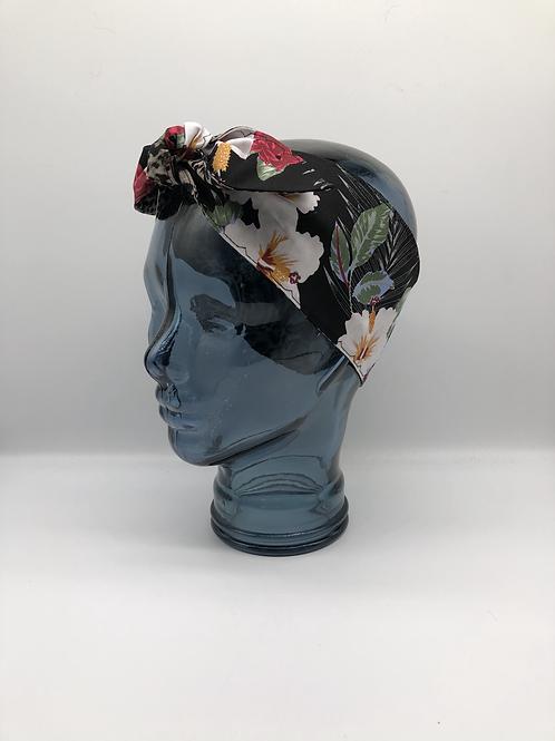Black Hibiscus Headscarf