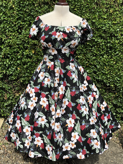 Black Hibiscus Rose Gypsy Dress
