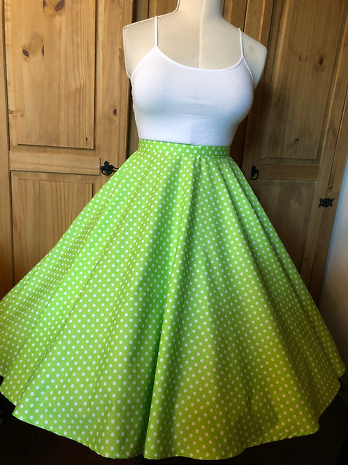 Lime Green Spotty Florence Skirt Size 10