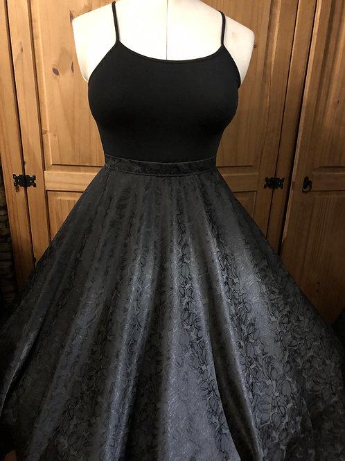 Black Rosebud Jacquard Florence Skirt
