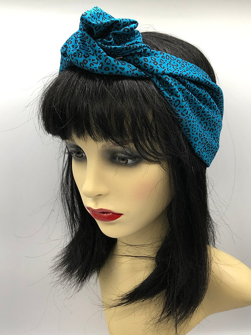 Teal Leopard Print Knotted Headscarf