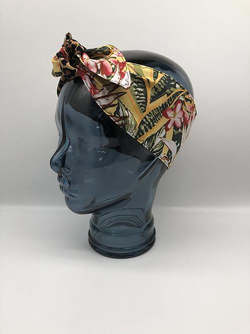 Tropical Leaf Leopard Print Headscarf