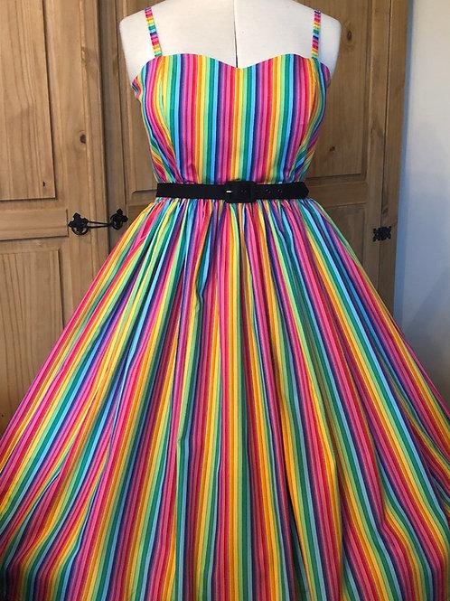 Rainbow Stripes Anya Gathered Dress