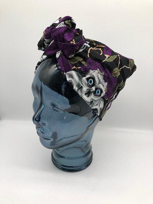 Purple Skulls & Roses Twisted Turban