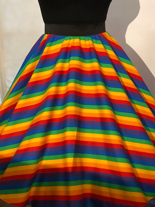 Rainbow Wide Stripes Emily Elasticated Waist Skirt