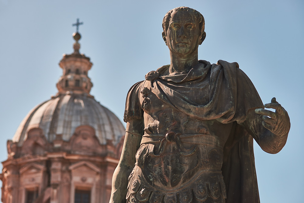 A statue of Julius Caesar before the Ides of March