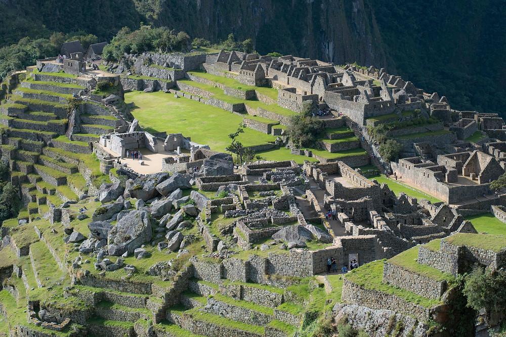 A close up look of the Machu Picchu ruins