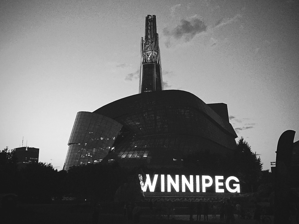 The Canadian Museum of Human Rights with the new Winnipeg sign