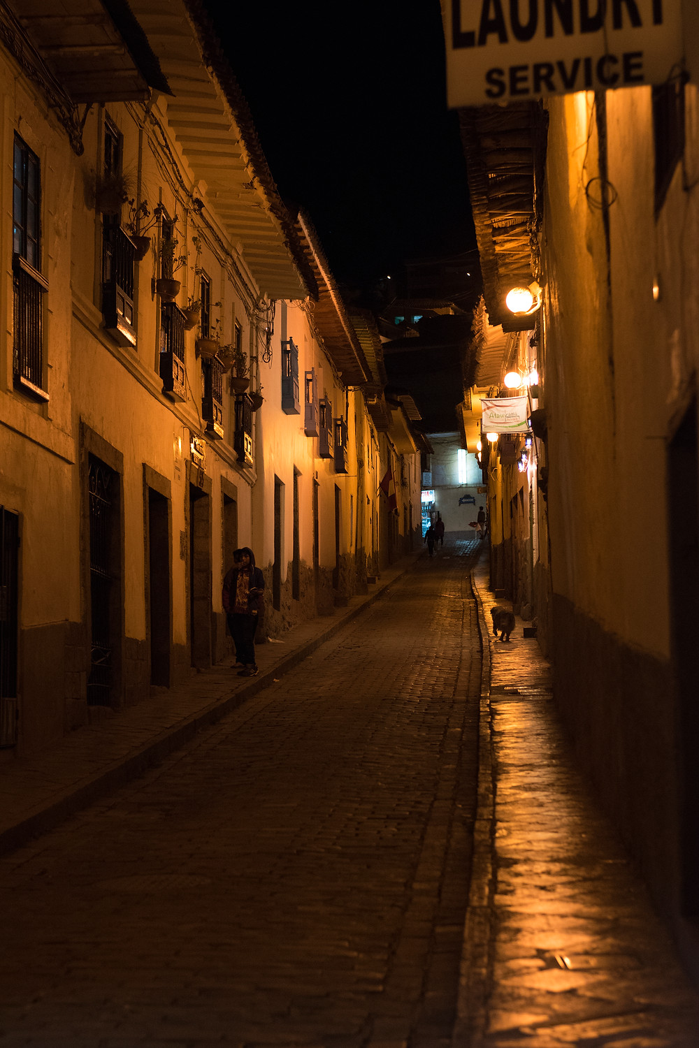 The streets of Cusco in the middle of the night