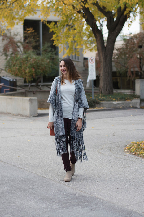 The Ultimate Winter Combo: a Poncho & Burgundy Pants