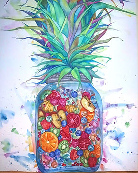 tomato fruit art watercolor tin nguyen vanderbilt colorful jar pineapple orange apple