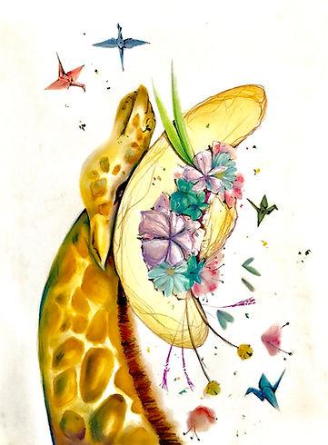 giraffe pastel colorful arts tin nguyen flowers floral harp origami