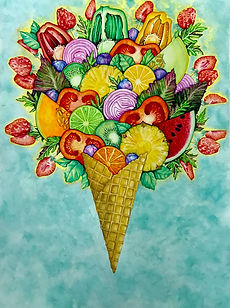 tin q nguyen art watercolor tomato fruits colorful ice cream creativity